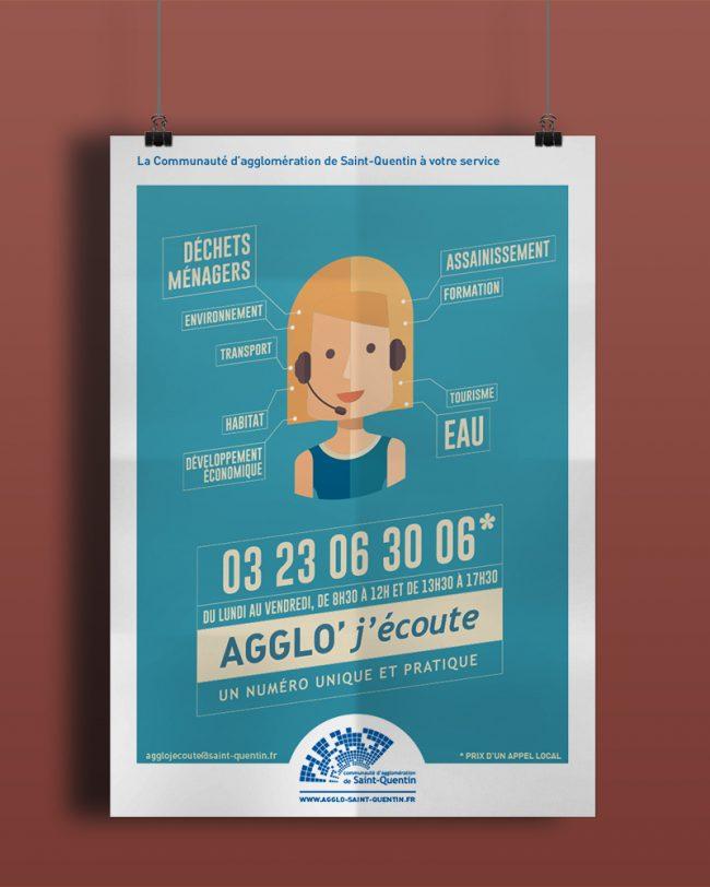 Affiche - Création graphique campagne Agglo' J'écoute pour La Communauté d'agglomération de Saint-Quentin