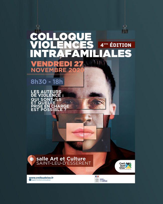 Création Visuel Colloque violence intrafamiliales - affiche - déclinaison web pour A.C.S.O
