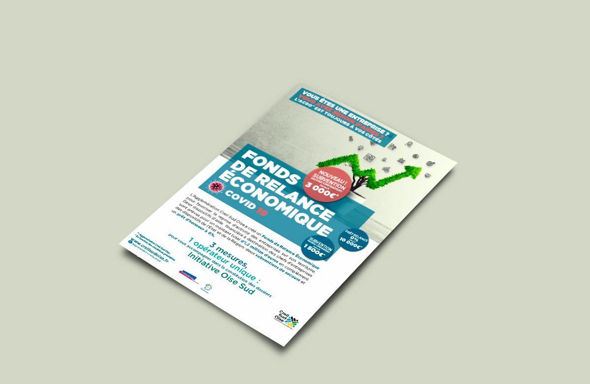 Création visuel Fonds de relance économique - brochure - encart pub - cul de bus - déclinaison web à l'attention des entreprises pour l'A.C.S.O