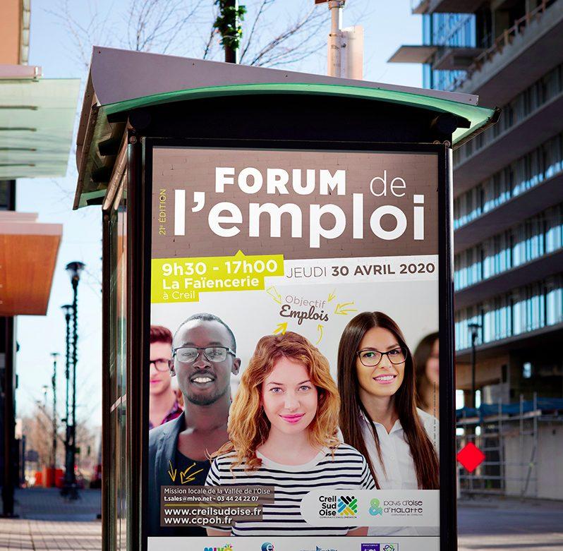 Création visuel Forum de l'emploi - flyer- encart pub - abribus - cul de bus - bâche - déclinaison web pour l'A.C.S.O