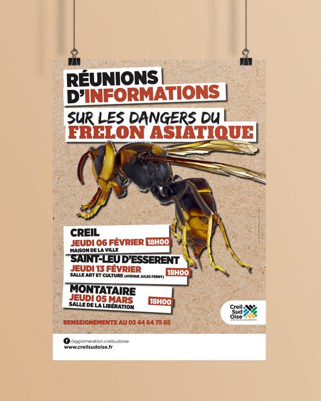 Création visuel Prévention Frelon Asiatique - affiche - flyer - déclinaison web pour l'A.C.S.O