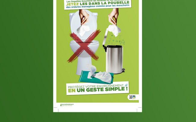 Création visuel prévention lingettes - flyer- affiche - abribus - cul de bus - déclinaison web ...pour l'A.C.S.O