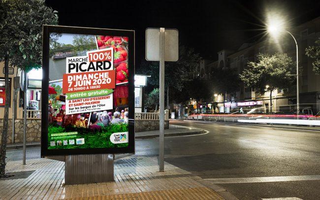 Création visuel MARCHÉ PICARD - flyer- encart pub - abribus - cul de bus - déclinaison web pour l'A.C.S.O