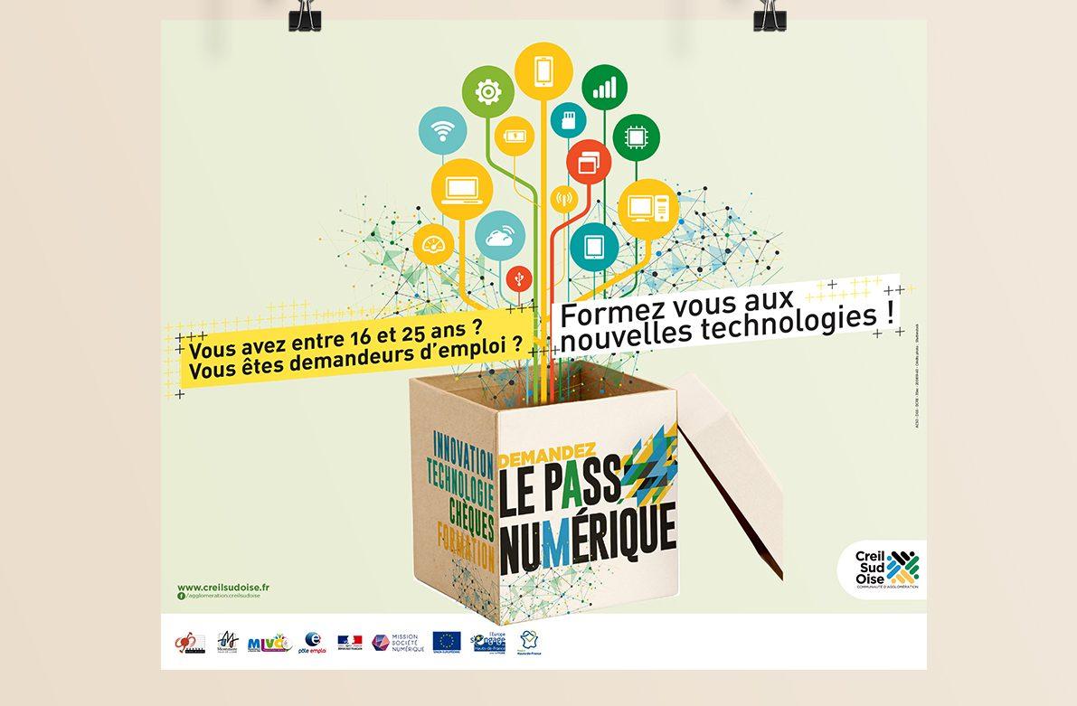 Création visuel Le Pass Numérique - affiche - abribus - encart pub - flyer - déclinaison web ...pour l'A.C.S.O