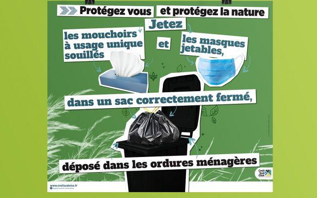 Création visuel prévention mouchoirs et masques jetables - flyer- affiche - abribus - cul de bus - déclinaison web ...pour l'A.C.S.O