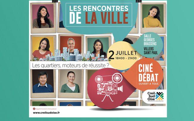Création visuel Les Rencontres de la Ville - cul de bus - affiche - flyer - stickers - banderole - déclinaison web pour l'A.C.S.O