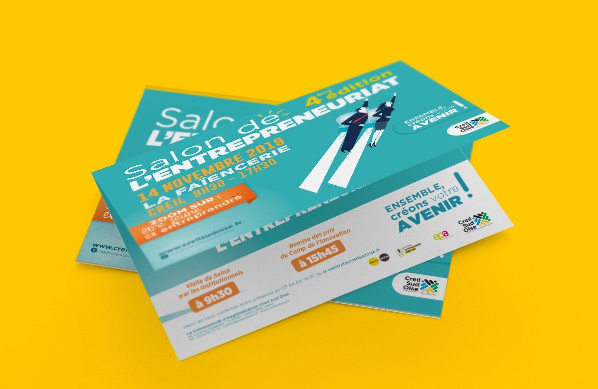 Création visuel Salon Entrepreneuriat 2019 - Creil - abribus - cul de bus - affiche - flyer -banderole - signalétique - invitation - déclinaison web pour l'A.C.S.O